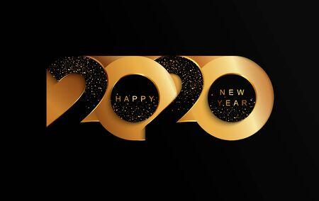 Felice anno nuovo 2020 striscione dorato in carta in stile carta per i volantini delle vacanze stagionali, auguri e inviti, congratulazioni e biglietti a tema natalizio. Illustrazione vettoriale.