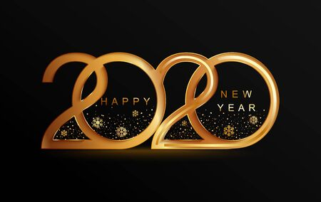 Happy 2020 new year golden banner in paper style for your seasonal holidays flyers, greetings and invitations, christmas themed congratulations and cards. Vector illustration. Illustration