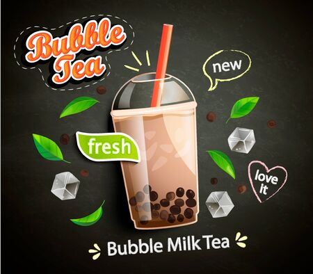 Bubble milk tea in cup with delicious tapioca, mint leaves and ice cubes with place for text and brand on chalkboard background. Great for flyers, posters, cards. Vector illustration.