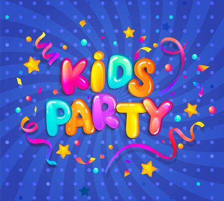 Banner de fiesta para niños con confeti, destellos serpentinos para saludos, invitaciones para fiestas nocturnas. Lugar para divertirse y jugar, sala de juegos para niños para fiesta de cumpleaños. Cartel para la decoración de la sala de juegos para niños. Ilustración de vector