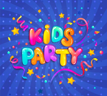 Kids party banner with confetti,serpentine sparkles for greetings,invitations for evening parties.Place for fun and play, kids game room for birthday party. Poster for childrens playroom decor.Vector Illustration