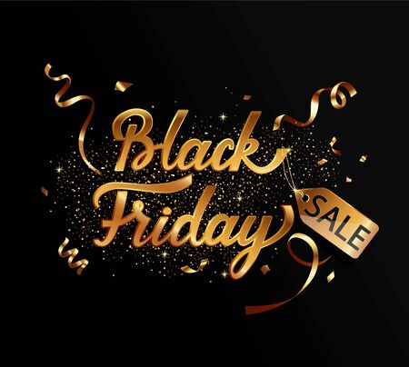 Template in gold for black friday sale weekend with golden serpentine and 50 percent discount.Perfect template for banners, flyers, discount cards, web, posters, ad, promotions, marketing.Vector. 向量圖像