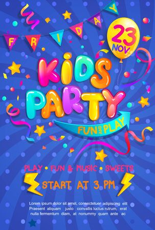 Kids party vertical banner with confetti,serpentine sparkles for greetings,invitations for parties.Place for fun and play, kids game room for birthday party.Poster for childrens playroom decor.Vector Ilustracja