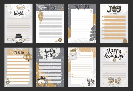 Winter templates for notes, to do and buy lists.Organizer,planner,schedule for your design.Hand drawn blanks with santa, snowman, gifts, snowfall.Vector illustration.