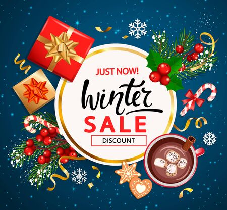 Winter sale invitation banner,poster.Christmas and New Year discounts offers with traditional christmas decorations-gift box with gold bow,candy cane,branch with rowans,cookie,cocoa,marshmallow.Vector
