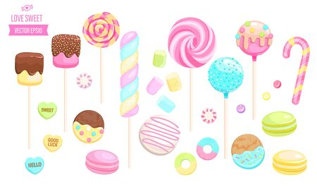 Set isolated sweets on white background-candy,macaroon,candy cane,lollipop,caramel,marmalade.Template for confectionery,sweet banner and poster,advertise for candyshop. Vector illustration