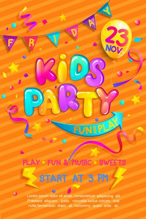 Kids party flyer with confetti,serpentine sparkles for greetings,invitations for parties.Place for fun and play, kids game room for birthday party.Poster for childrens playroom decor.Vector