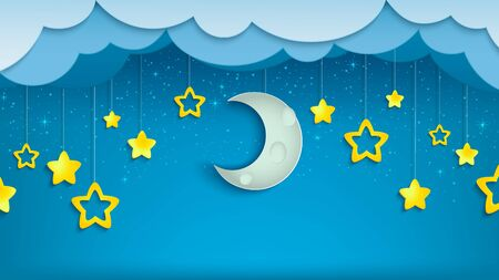 Night sky with half of moon and stars. Crescent with clouds in evening scene. Midnight time. Vector Illustration.