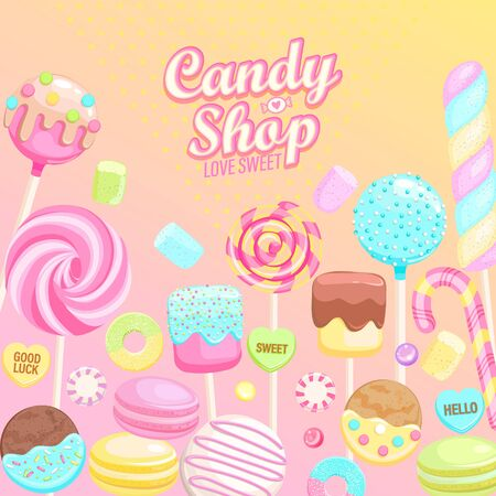 Candy shop inviting banner. Isolated sweets -candy,macaroon,candy cane,lollipop,caramel,marmalade.Template for confectionery,sweet shops and poster,advertise for candyshops. Vector illustration 向量圖像