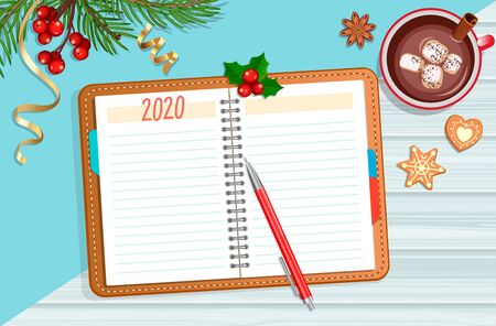 Planning 2020 year. Planner, pencil, tea and christmas accessories. Schedule and calendar concept. To do and wish list in new year. Starting New Year with changes. Vector illustration.