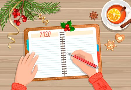 Planning 2020 year. Hands with pencil on planner, tea and christmas accessories on wooden background. Schedule and calendar concept. Starting New Year with changes. Vector illustration.