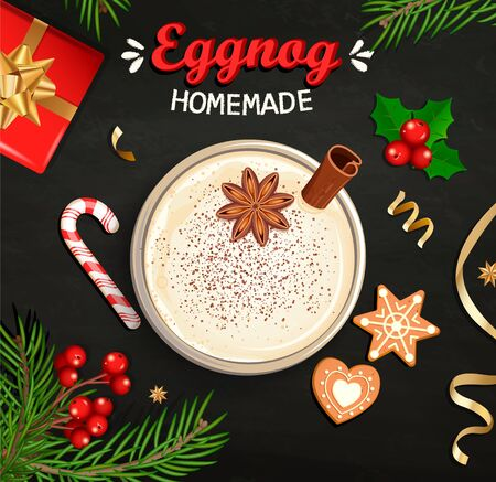 Hot Christmas Eggnog, homemade mulled wine, grog. Cocktail with milk,cinnamon and clove stars. Cozy mug with egg nog surrounded by gift, candy cane, gingerbread, cookie, top view. Vector illustration.