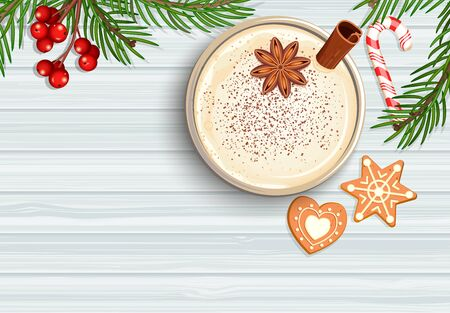 Merry Christmas celebration with hot eggnog.Homemade mulled wine, grog. Cocktail with milk,cinnamon and clove stars. Cozy mug with egg nog with candy cane, gingerbread, top view. Vector illustration.