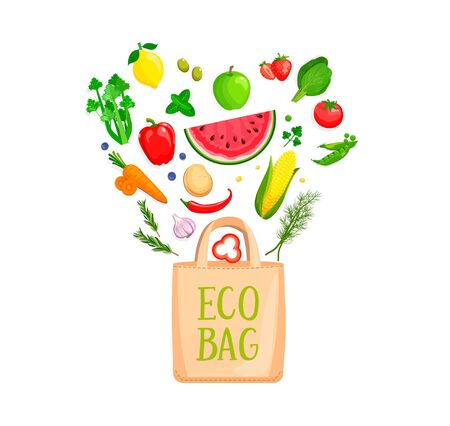 Eco Fabric Cloth Bag with isolated vegetables and berries falling inside. The concept of caring for the environment and reuse things. Friendly nature Vector illustration.