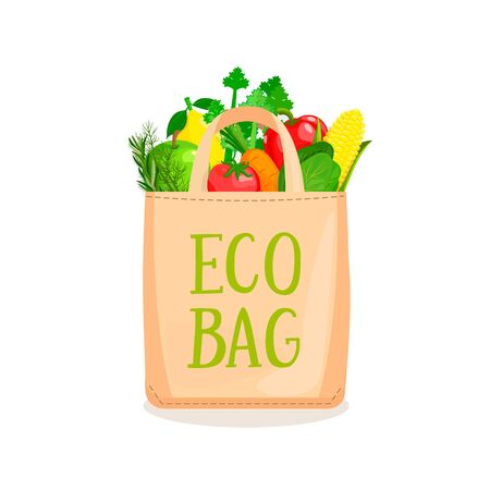 Eco Fabric Cloth Bag full of vegetables and fruits. The concept of caring for the environment and reuse things. Friendly nature non plastic bags. Vector illustration. Ilustracja