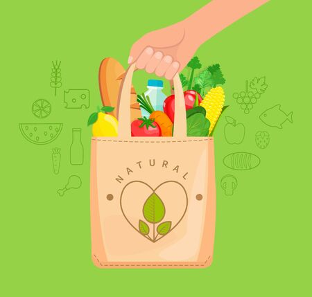 Sac en tissu écologique rempli d'aliments naturels, de légumes, de fruits, de pain, d'eau. Le concept de prendre soin de l'environnement, de réutiliser les choses, de faire des achats sains. Illustration vectorielle. Vecteurs