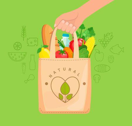 Torba z tkaniny ekologicznej pełna naturalnej żywności, warzyw, owoców, chleba, wody. Pojęcie dbałości o środowisko, ponowne wykorzystanie rzeczy, zdrowe zakupy. Ilustracja wektorowa. Ilustracje wektorowe