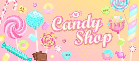 Candy shop welcome banner with sweets. Inviting poster-candy,macaroon, candy cane,lollipop,caramel,marmalade.Template for confectionery,sweetshops,candyshops. Dessert collection on birthday.Vector