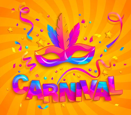 Mask with feathers and confetti for fun carnival party. Traditional masque for carnaval,mardi gras, fesival,masquerade,parade.Template for design invitation,flyer poster,banners. Vector illustration.