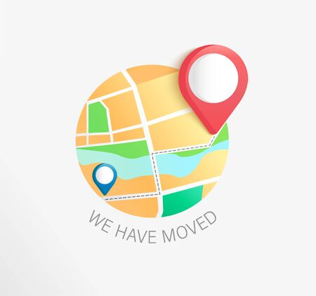 We have moved, concept of business and office relocation. New Address with pin on map. Announcement of change location. Weve move message, navigation to the new place. Vector illustration.