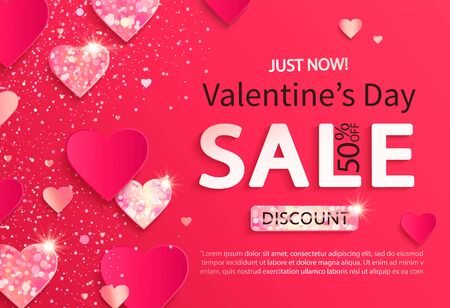 Sale banner for Valentines day. Just now discounts.Poster with glitters and shiny hearts on pink abstract background, shimer, ornaments.Template for flyer, invitation for february 14.Vector