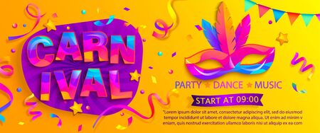 Banner for fun carnival party. Traditional mask with feathers and confetti for carnaval,mardi gras, fesival,masquerade,parade.Template for design invitation,flyer poster,banners. Vector illustration.