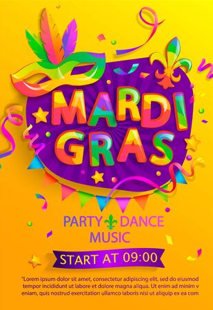 Mardi gras flyer with inviting for carnival party.Traditional Mask with feathers for carnaval,fesival,masquerade,parade.Template for design invitation,banners, poster, placards. Vector illustration.