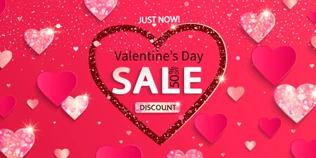 Sale banner for Valentines day. Just now 50 percent discounts.Poster with glitters and shiny hearts on pink abstract background,shimer, ornaments.Template for flyer, invitation for february 14.Vector