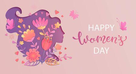 Carte élégante pour la Journée internationale de la femme. Bannière, dépliant pour le 8 mars avec silhouette de visage de femme découpée en papier avec des fleurs et souhaitant de joyeuses fêtes. Plaque de félicitations pour les brochures. Illustration vectorielle