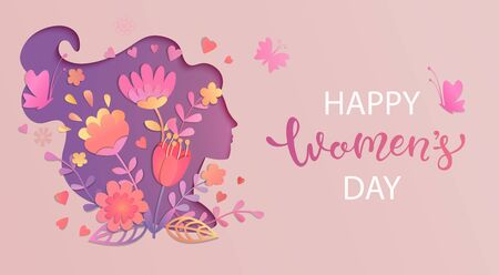 Elegant card for International Women's Day.Banner, flyer for March 8 with papercut woman face silhouette with flowers and wishing happy holiday.Congratulating placard for brochures.Vector illustration