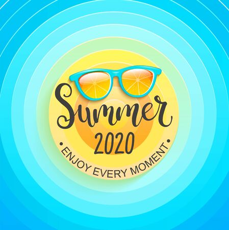 Summer greeting banner for summertime 2020. Sun, sky and sunglasses, enjoy every moment. Template for card, wallpaper, flyer, invitation, poster and brochure. Vector illustration.