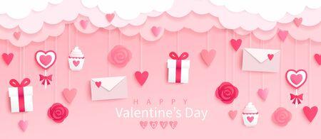 Bandera del día de San Valentín con regalos, corazones, letras, flores en fondo rosa con deseos de felices fiestas, estilo origami. Plantilla para volante, invitación y tarjeta de felicitación para vacaciones. Ilustración vectorial.