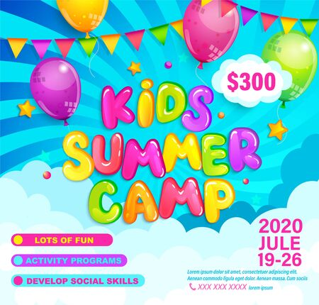 Kids Summer camp invitation flyer. Template for advertising brochure, children activities on camping. Great for posters, flyers, banners. Sunburst background, ballons and flags.Vector Illustration Ilustrace