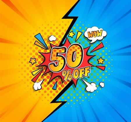 50 percent off comic speech bubble. Great vintage template in retro pop art style on halftone background for wow sales flyers,invitation,special offer card, for design,advertising.Vector illustration.