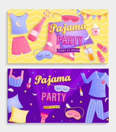 Set of pajama party's invitation banners.Night time for kids and parents, nightwear,pillows,games,sweets, fun.Posters for happy event. Birthday celebration for children in pyjamas.Vector illustration. Vector Illustration