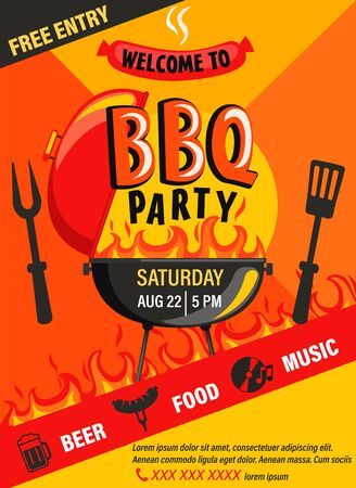 BBQ party invitation flyer.Summer Barbecue weekend cookout event with beer,food,music.Design template for menu,poster, banner, announcement on geometric background.Cooking outdoor.Vector illustration.
