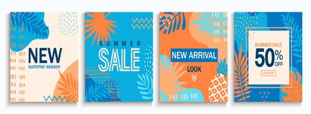 Set of summer sale abstract cards., backgrounds with geometric shapes. Template design for flyer, new season banner,poster,new arrivals.Promote up to 50 per cent price off in shops, stores, retails.