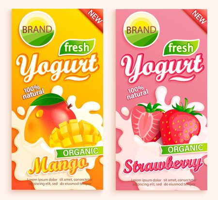 Set of mango and strawberry Yogurt labels. Natural and fresh fruits in milk splashes for your brand, logo, emblem for stores, packaging and advertising. Template for your design.Vector illustration. Ilustração