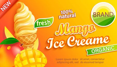 Mango Ice cream logo label, emblem, sticker with slice fruit and fresh organic sundae in cone in cartoon style for your design.Template for banner,poster,brand,packaging,packing. Vector illustration.