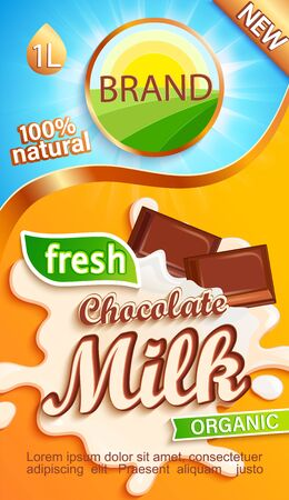 Chocolate milk label for your brand. Natural and fresh drink,chocolate pieces in a milk splash.Logo, sticker, emblem for stores, packaging and advertising.Template for your design.Vector illustration.