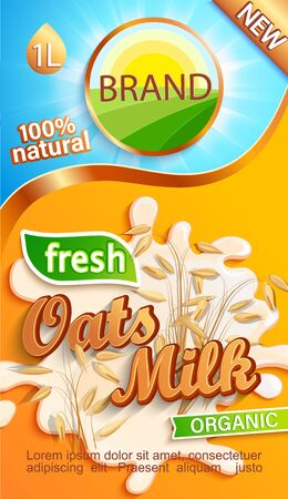 Oats milk label for your brand. Natural and fresh drink,cereals in a milk splash.Logo, sticker, emblem for stores, packaging and advertising.Template for your design.Vector illustration.