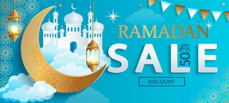 Ramadan Kareem sale Banner.Discount card, flyer for traditional muslim holiday shopping with golden ornament,lamp,mosque and crescent for happy celebration.Islamic greeting poster.Vector illustration. Vettoriali