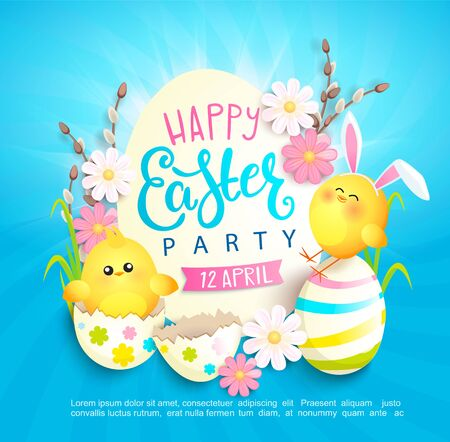 Happy easter party invitation card with beautiful camomiles, painted eggs and chickens with rabbits ears. Banner, poster, greeting, flyer.Template for your design. Vector illustration. Vettoriali