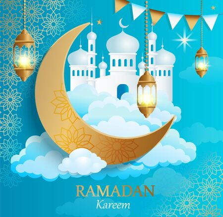 Ramadan Kareem greeting card.Banner for traditional muslim holiday golden ornament, lamp, mosque and crescent on clouds for happy celebration. Islamic congratulation poster. Vector illustration. Vettoriali