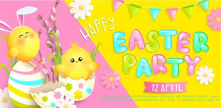 Happy easter party invitation banner with beautiful camomiles, painted eggs and chickens with rabbits ears, flags. Poster, greeting card, flyer.Template for your design. Vector illustration.