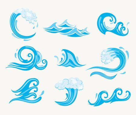 Set of sea waves. Ocean tidal or storm wave isolated on white background. Template design for surfing and seascape, vector illustration. Surge, ripple, wavelet in nature. Vector illustration. Vettoriali