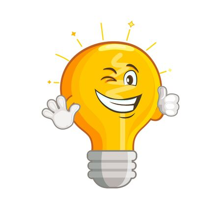 Shining yellow light bulb isolated on white background. Smiling lightbulb with funny emotion. Emoji on creative idea, inspiration symbol.Decoration for greeting cards, prints, badges, posters.Vector. Zdjęcie Seryjne - 142086446