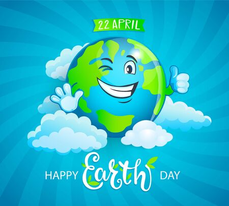 Banner for Earth Day. Smiling planet with funny emotion and thumb up. Eco friendly world.Ecology concept.Decoration for greeting cards, prints, badges, posters.Vector illustration.