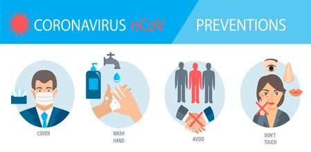 infogaphic of 4 rules for Coronavirus 2019-nCoV disease prevention. Healthcare and hygiene procedure. How to protect yourself from virus, four tips. Pandemic 2020. Vector illustration.