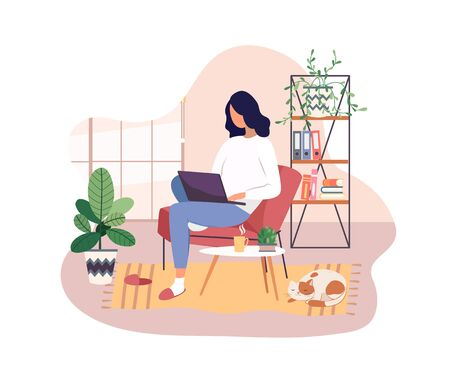 Freelancer working on laptop at home, remote job. Young girl studying from home, e-learning concept. Comfortable conditions for work during the quarantine. Online shopping. Vector illustration. 矢量图像